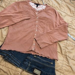 WHBM Dusty Rose Snap Front Cardigan